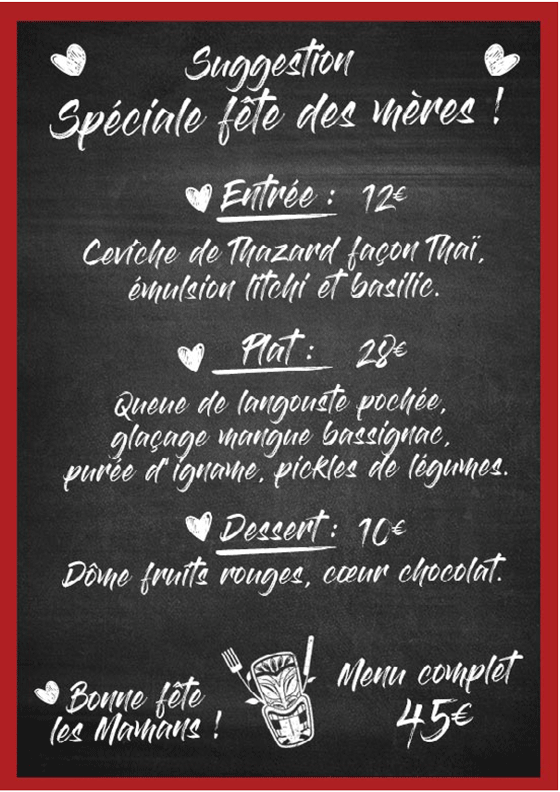Menu suggestion fête des mères 2020